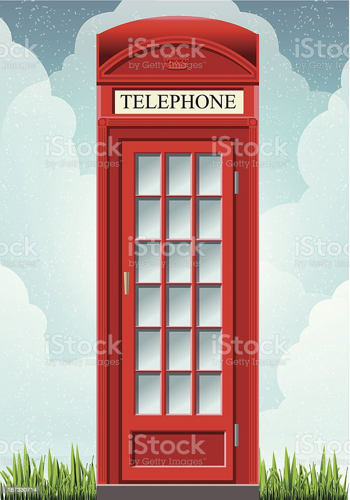 English Red Telephone Cabin on the Grass vector art illustration