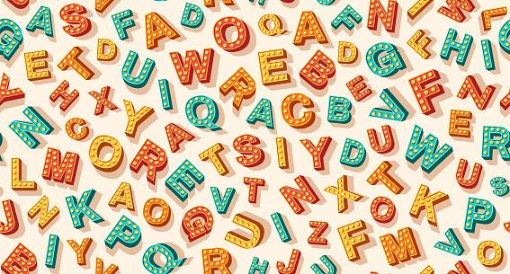 English retro alphabet pattern