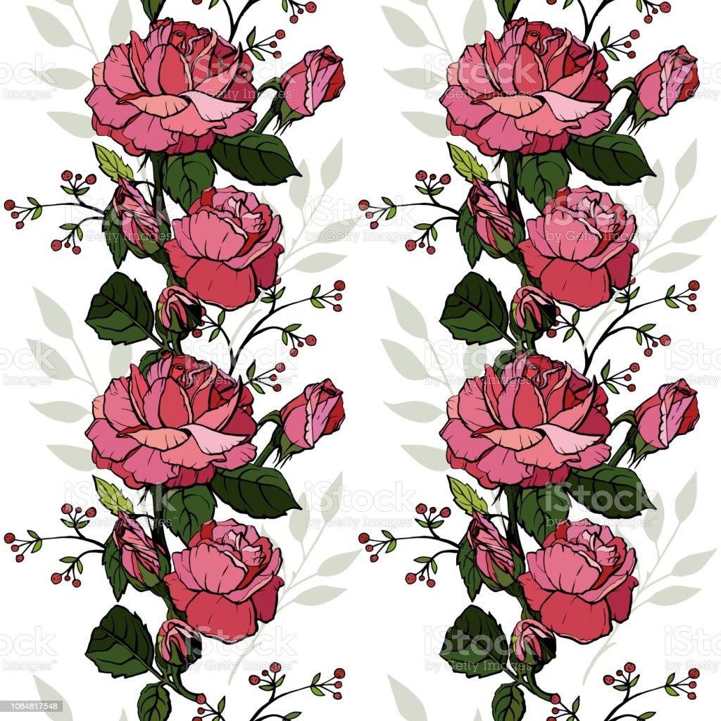 Ilustración De Rosas Inglés Sin Problemas Diseño De Tarjetas