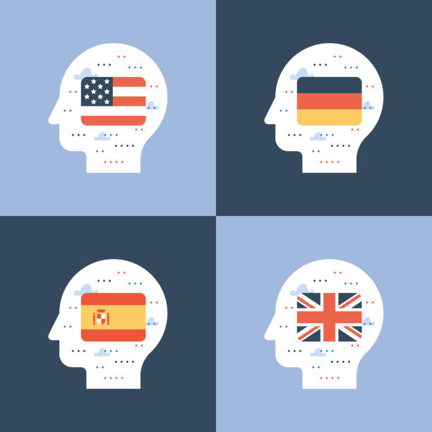 illustrazioni stock, clip art, cartoni animati e icone di tendenza di english, spanish and german flags, learning foreign language, international education, student exchange - spagnolo lingua