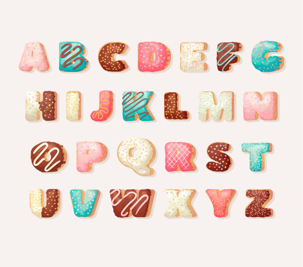 stockillustraties, clipart, cartoons en iconen met engels zoete donut alfabet abc kinder alfabet. alfabetisch ingesteld in bakkerij donuts stijl. groet partij vector lettertype. - suikerglazuur