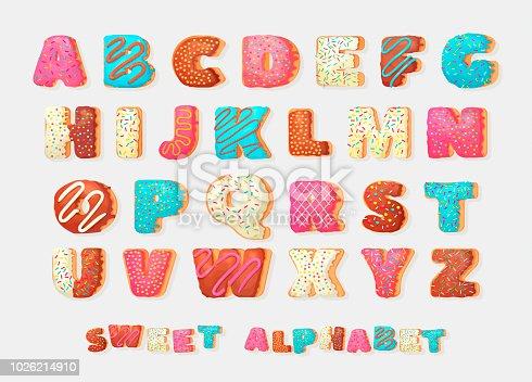 Alphabet. Alphabetical set  in bakery doughnuts style.