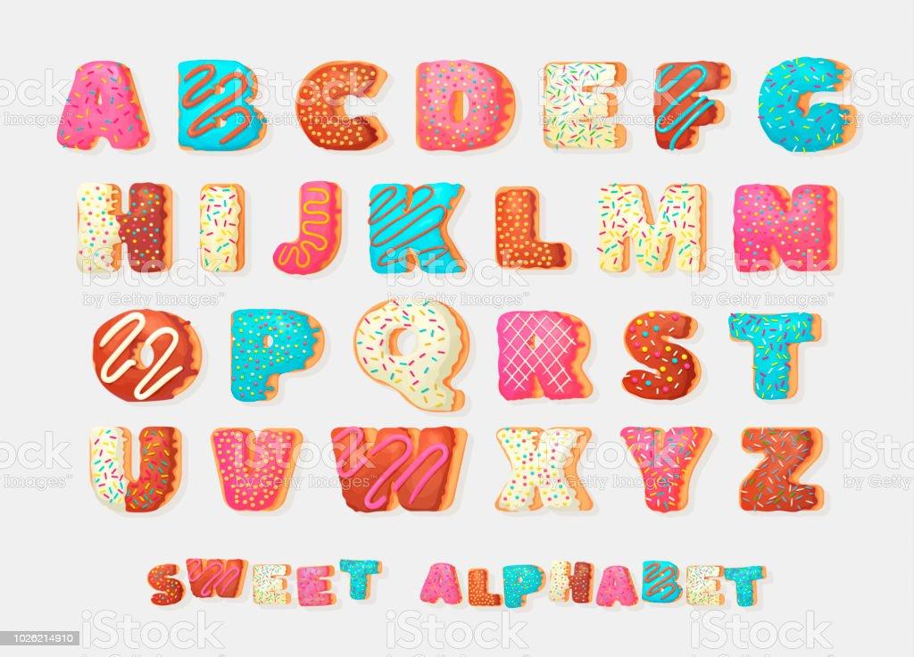Alfabeto inglés dulce donut abc fuente de vector partido saludo. Alfabeto de los niños. Alfabético en el estilo de panadería donas. - ilustración de arte vectorial