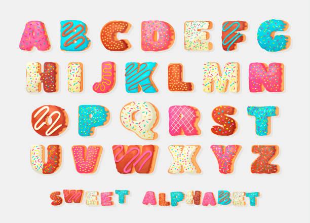 ilustrações de stock, clip art, desenhos animados e ícones de english sweet donut alphabet abc greeting party vector font.children's alphabet. alphabetical set  in bakery doughnuts style. - pudim