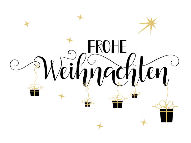 german text frohe weihnachten: merry christmas - weihnachten stock illustrations