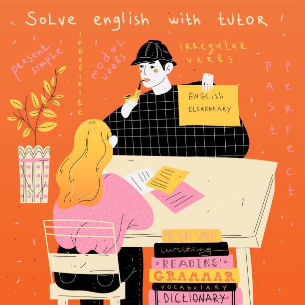 英語の家庭教師は生徒に個別に教えます。外国語のレッスン。 - 語学の授業点のイラスト素材/クリップアート素材/マンガ素材/アイコン素材