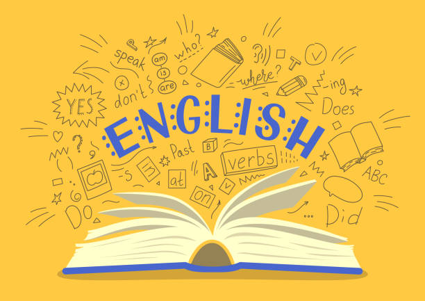English. English. Open book with language hand drawn doodles and lettering on yellow background. Education vector illustration. topics stock illustrations