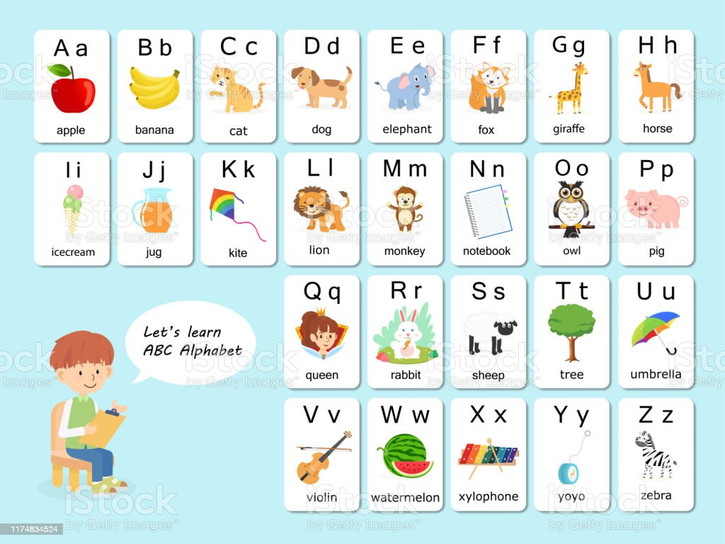 English Vocabulary And Alphabet Flash Card Vector For Kids