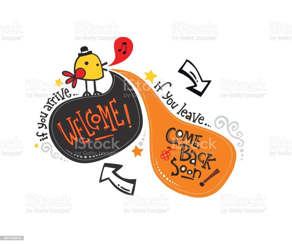Inglés phrase_bird Bienvenido - ilustración de arte vectorial