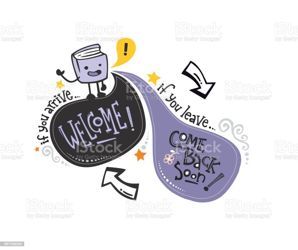 Inglés phrase_book Bienvenido - ilustración de arte vectorial