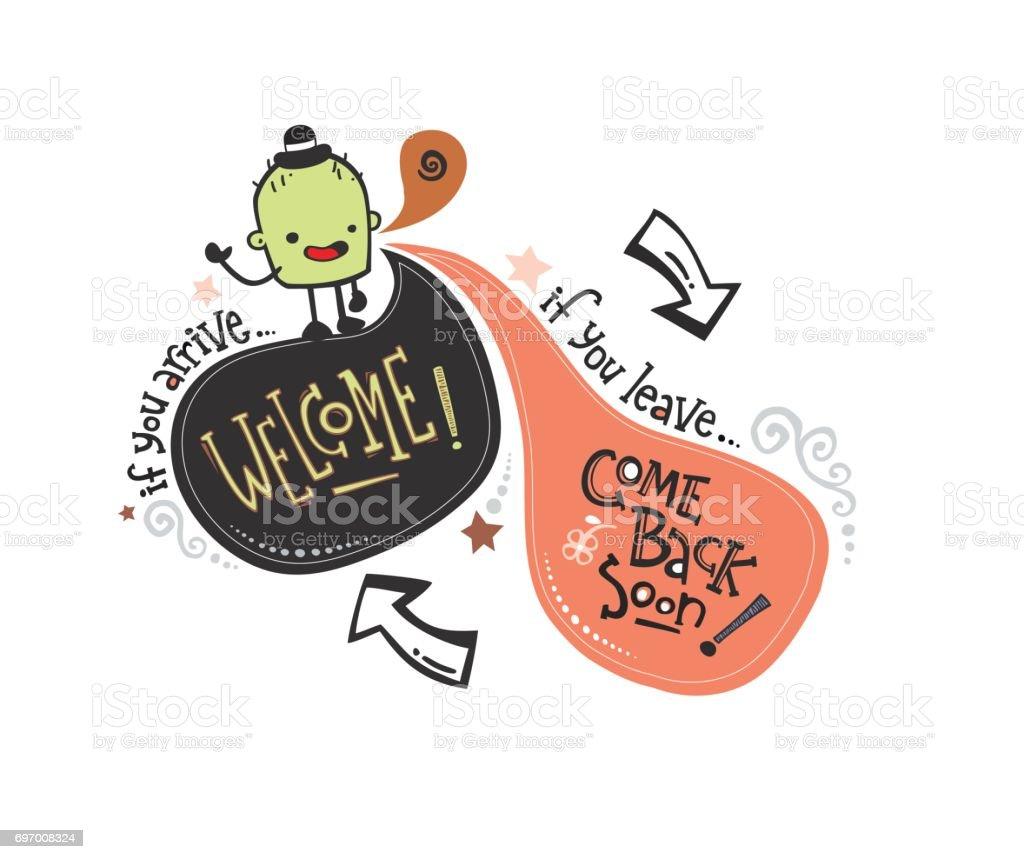 Inglés phrase_monster Bienvenido - ilustración de arte vectorial