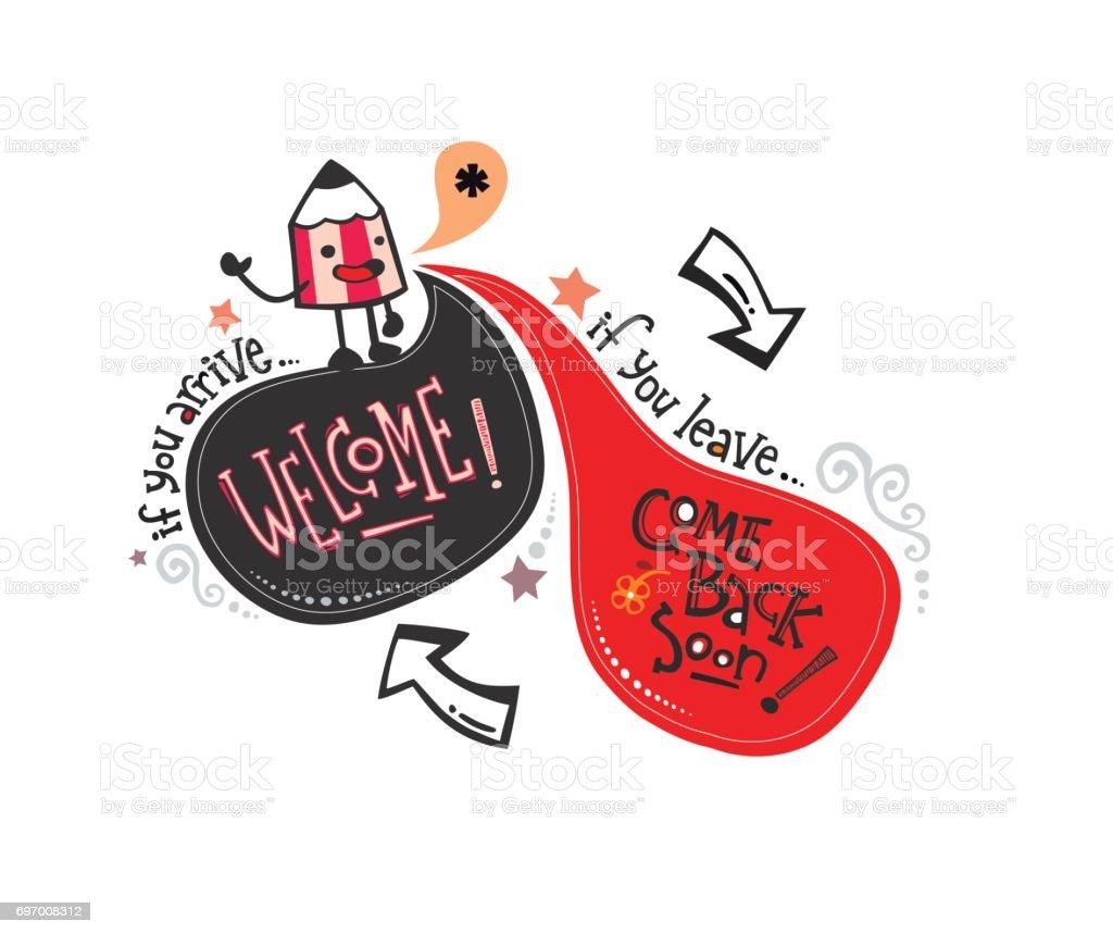 Inglés phrase_pencil Bienvenido - ilustración de arte vectorial