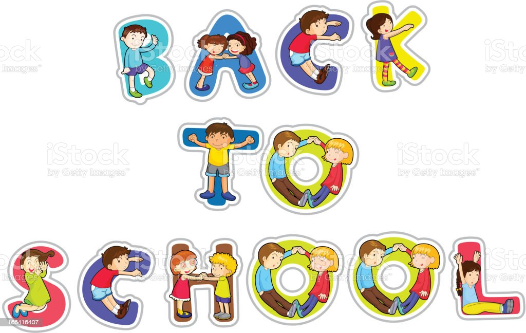 English word back to school royalty-free stock vector art