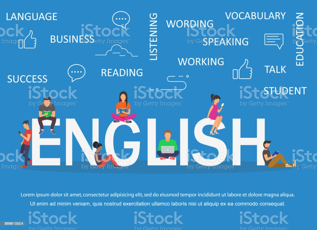 Palabra en inglés para la educación con diseño plano de los iconos - ilustración de arte vectorial