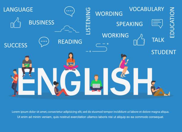 englisches wort für bildung durch symbole flache bauform - englischlernende stock-grafiken, -clipart, -cartoons und -symbole