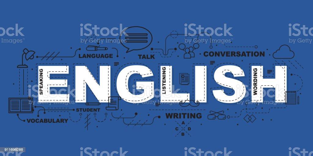 アイコン フラット デザイン教育のための英語の単語 ベクターアートイラスト