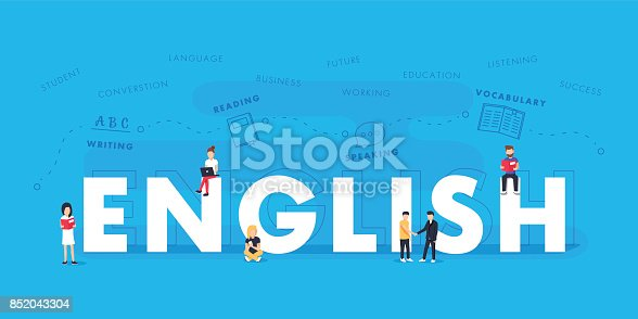 istock English word for education with icons flat design. Vector polyglot typographical wordcloud with mutiple words 852043304