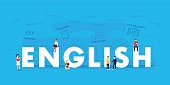 English word for education with icons flat design. Vector polyglot typographical wordcloud with mutiple words