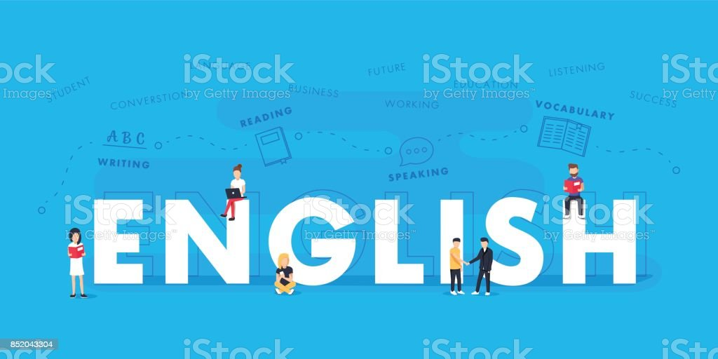 Palavra inglesa para a educação com design plano de ícones. Vector wordcloud tipográfico poliglota com palavras de mutiple - ilustração de arte em vetor