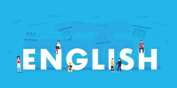 illustrazioni stock, clip art, cartoni animati e icone di tendenza di english word for education with icons flat design. vector polyglot typographical wordcloud with mutiple words - english
