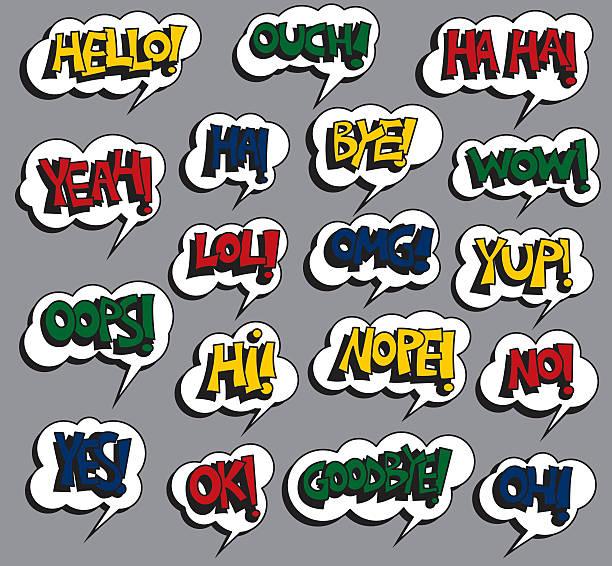 English words vector art illustration