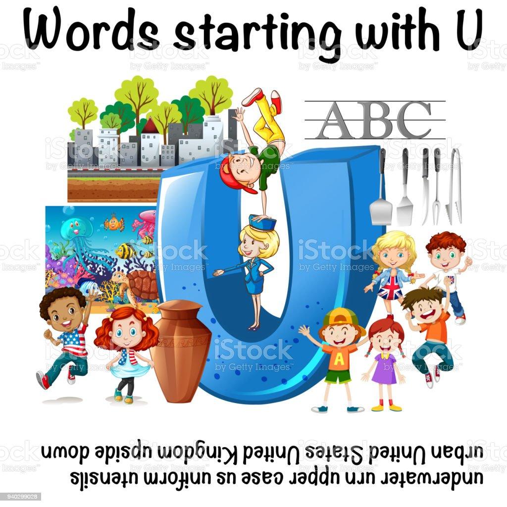 Englisch Arbeitsblatt Für Wörter Beginnend Mit U Stock Vektor Art ...