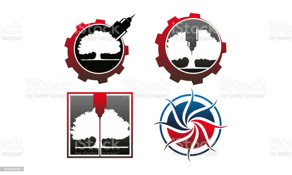Engrave CNC Service Template Set vector art illustration