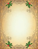 istock Engraved Christmas Frame on parchment 455318033