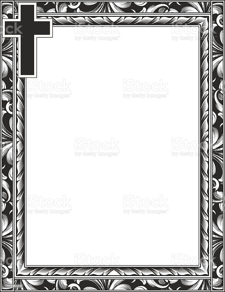Engraved Cross And Scroll Frame Stock Illustration ...