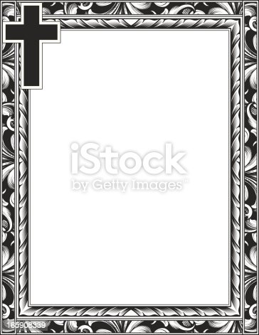 istock Engraved Cross And Scroll Frame 165908339