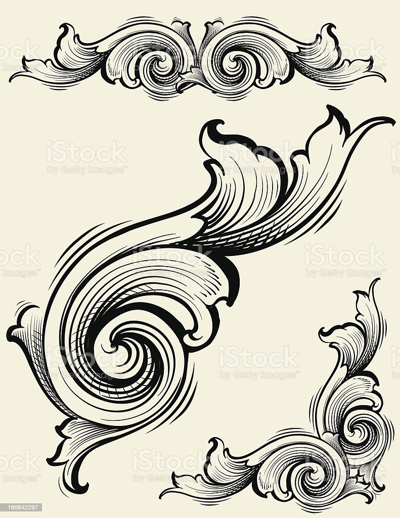 Engraved Element Set of Scrollwork royalty-free stock vector art