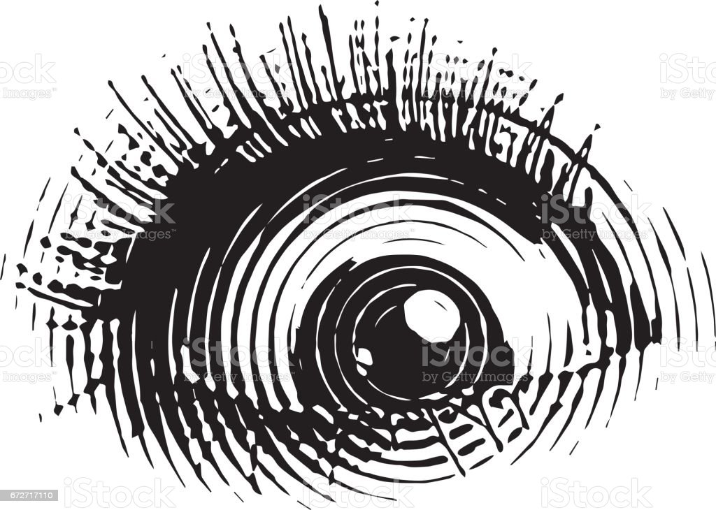 Engraved eye with shocked expression vector art illustration