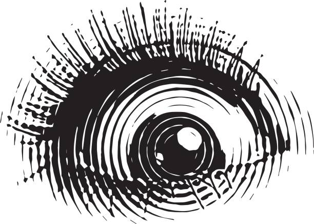 engraved eye with shocked expression - close up stock illustrations, clip art, cartoons, & icons