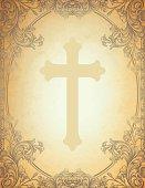 Engraved Floral Cross Frame