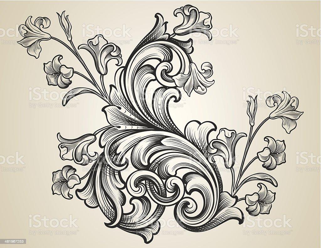Engraved Floral Scrolls Stock Illustration Download