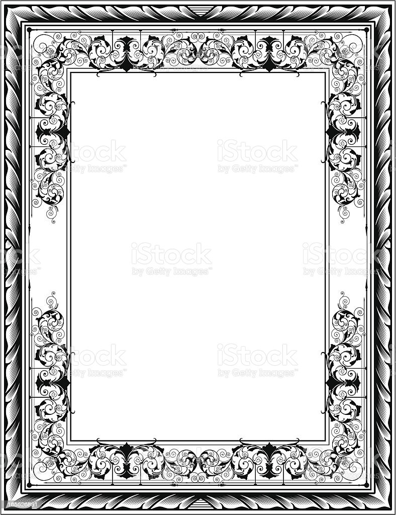 engraved frame scrolls royalty free stock vector art - Engraved Frame