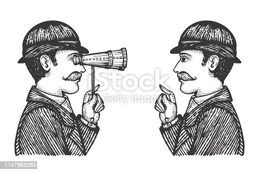 Vector illustration of engraved gentlemen - detective makes investigation searching for information concept as one vintage man looking through binoculars to another.