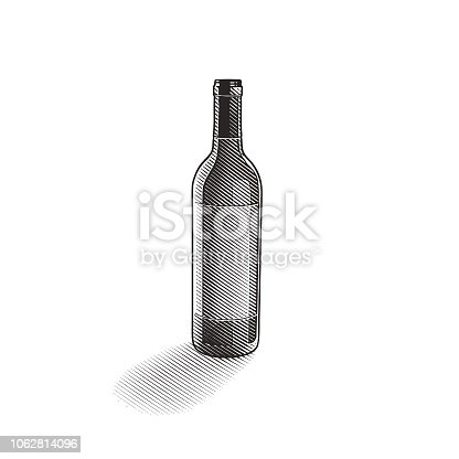 Engraved illustration of a Wine bottle