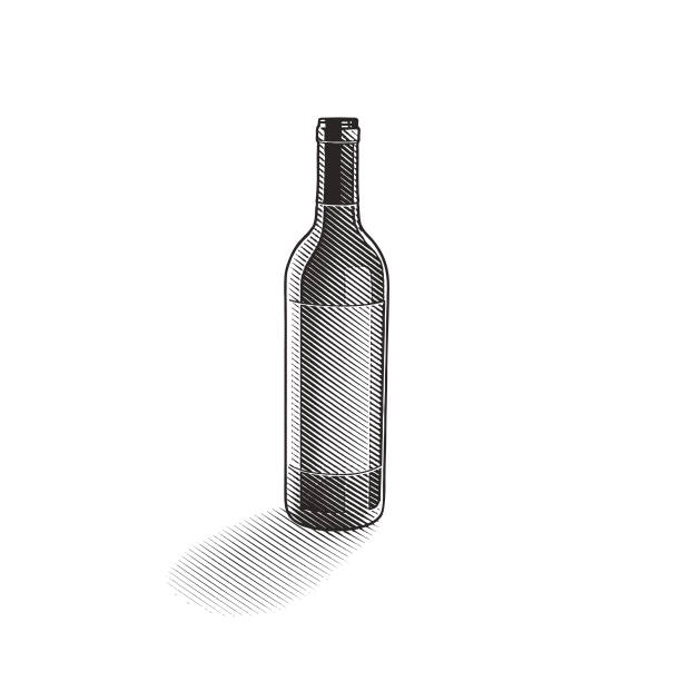 engraved illustration of a wine bottle - граттаж stock illustrations