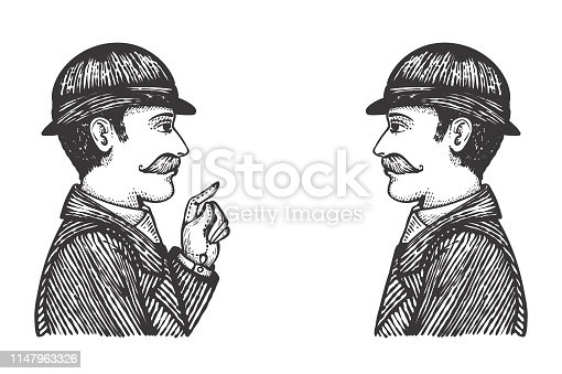 Vector illustration of vintage engraved men in bowler hats and coats, hand drawn clip art of communication, talking and dialog concept.