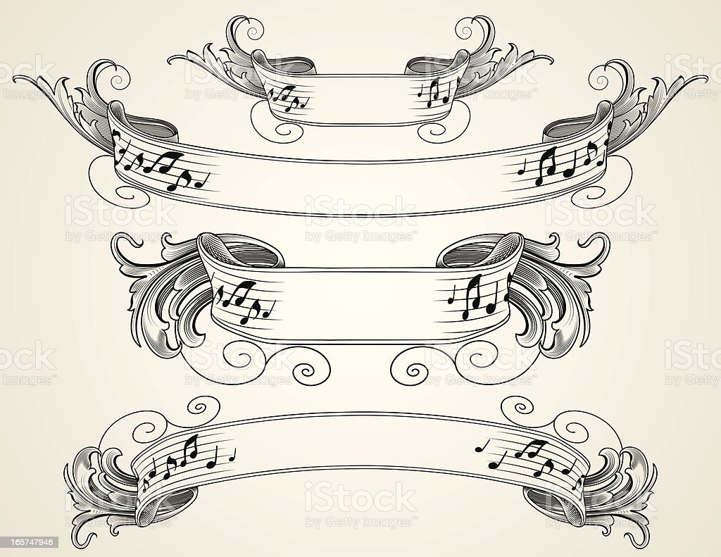 Engraved Musical Banners royalty-free stock vector art