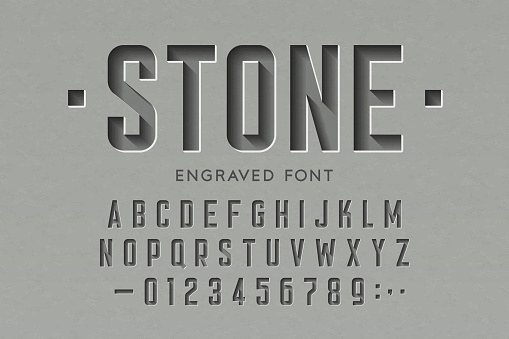 Engraved on stone font