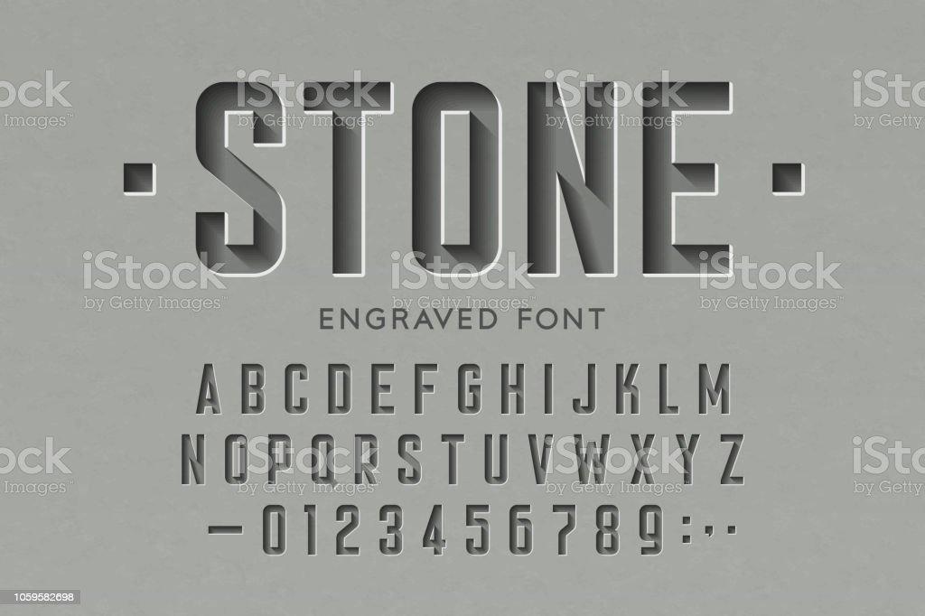 Engraved on stone font vector art illustration