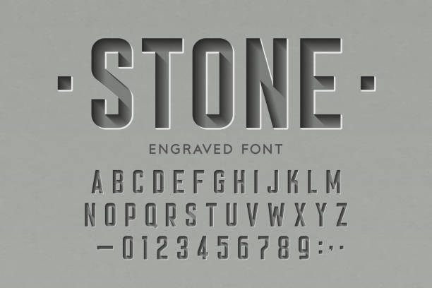 engraved on stone font - гравировка stock illustrations