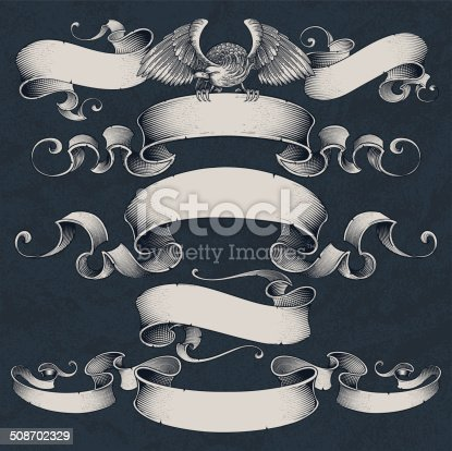 Vector ribbons in engraved style.