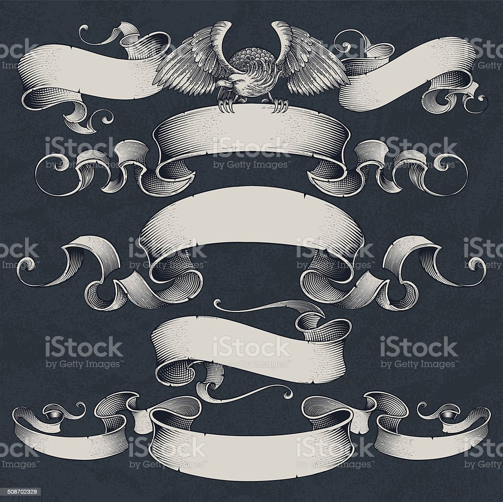 Engraved Ribbons Set vector art illustration
