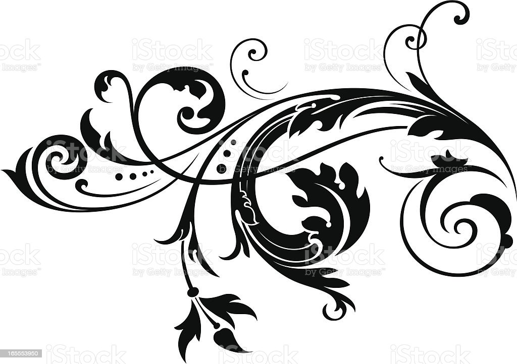 Engraved Scroll vector art illustration