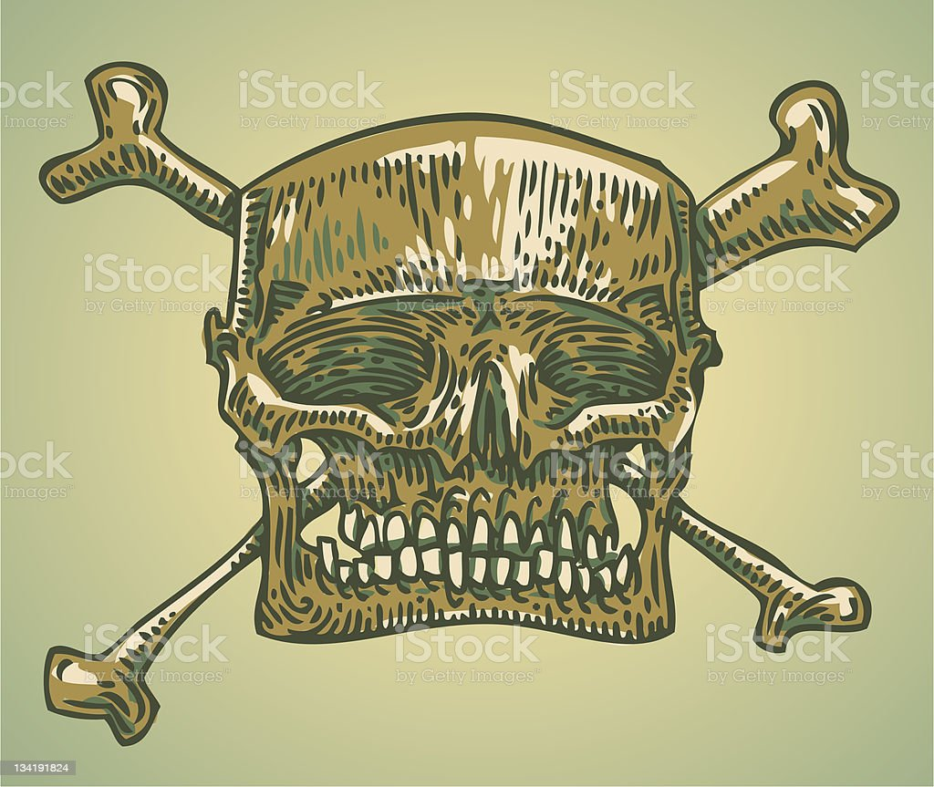 engraved skull vector art illustration