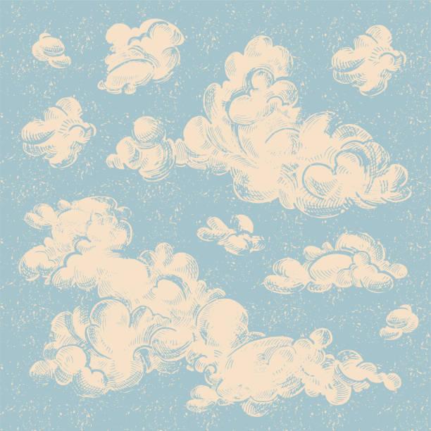 Engraved vintage clouds set. Ink illustration. Vector set of detailed hand drawn vintage engraved clouds. Ink illustration. Overcast, abstract sky, cloud sketch decorative background. linocut stock illustrations