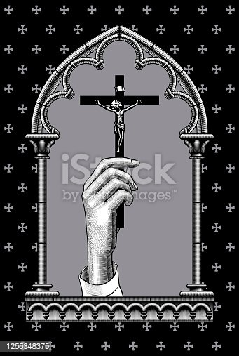 Engraved vintage drawing of a female hand with a cross in a classic gothic architectural decorative frame. Vector illustration